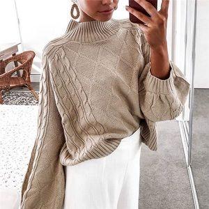 Sweaters - Beige Long Sleeve Mock Turtle Neck Paisley Sweater